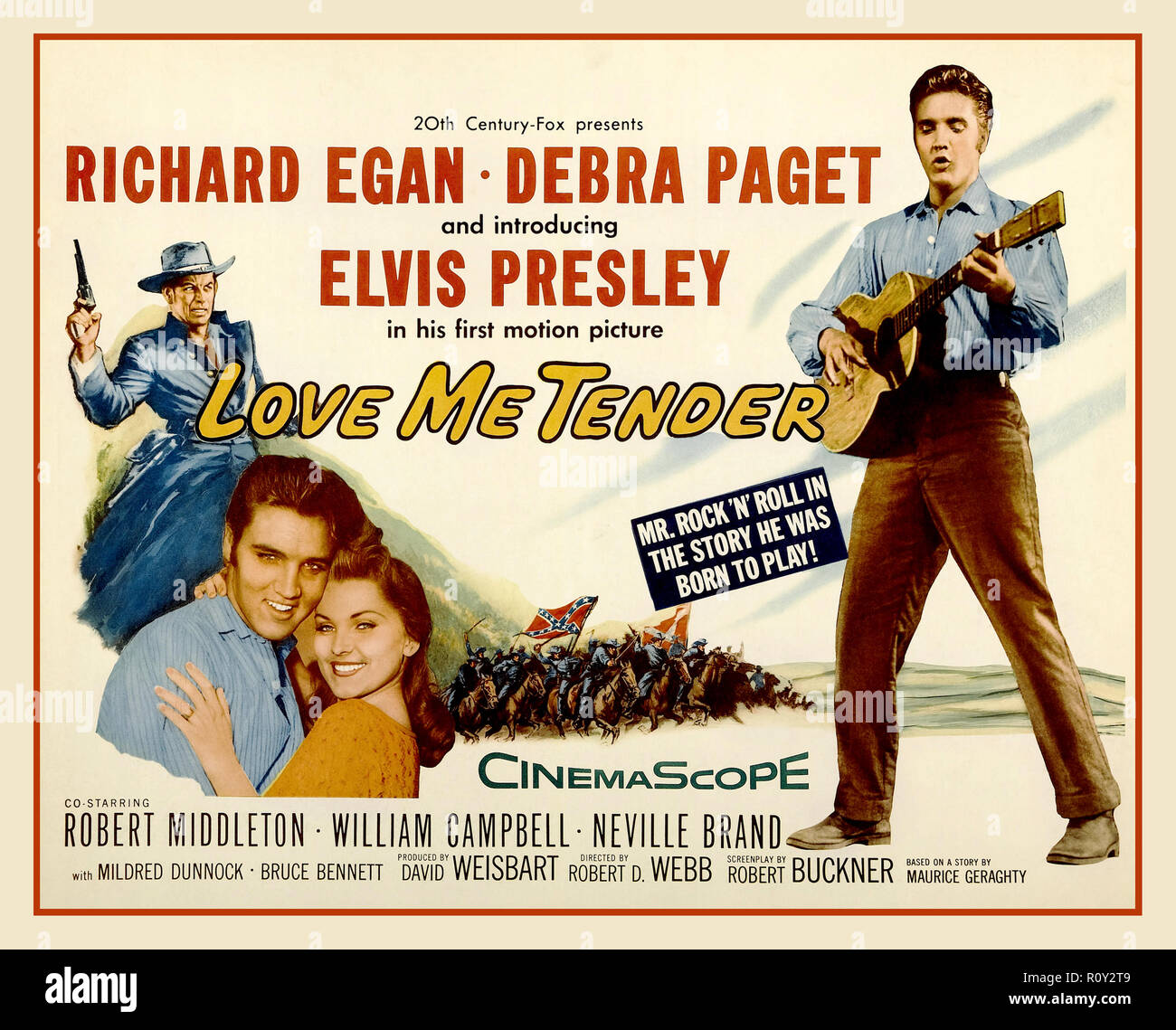 ELVIS PRESLEY  'Love me Tender' vintage movie poster 'Love Me Tender' is a 1956 song recorded by Elvis Presley and published by Elvis Presley Music from the 20th Century Fox film of the same name. The words and music are credited to Ken Darby under the pseudonym 'Vera Matson', the name of his wife, and Elvis Presley. The RCA Victor recording by Elvis Presley was no. 1 on both the Billboard and Cashbox charts in 1956. - Stock Image