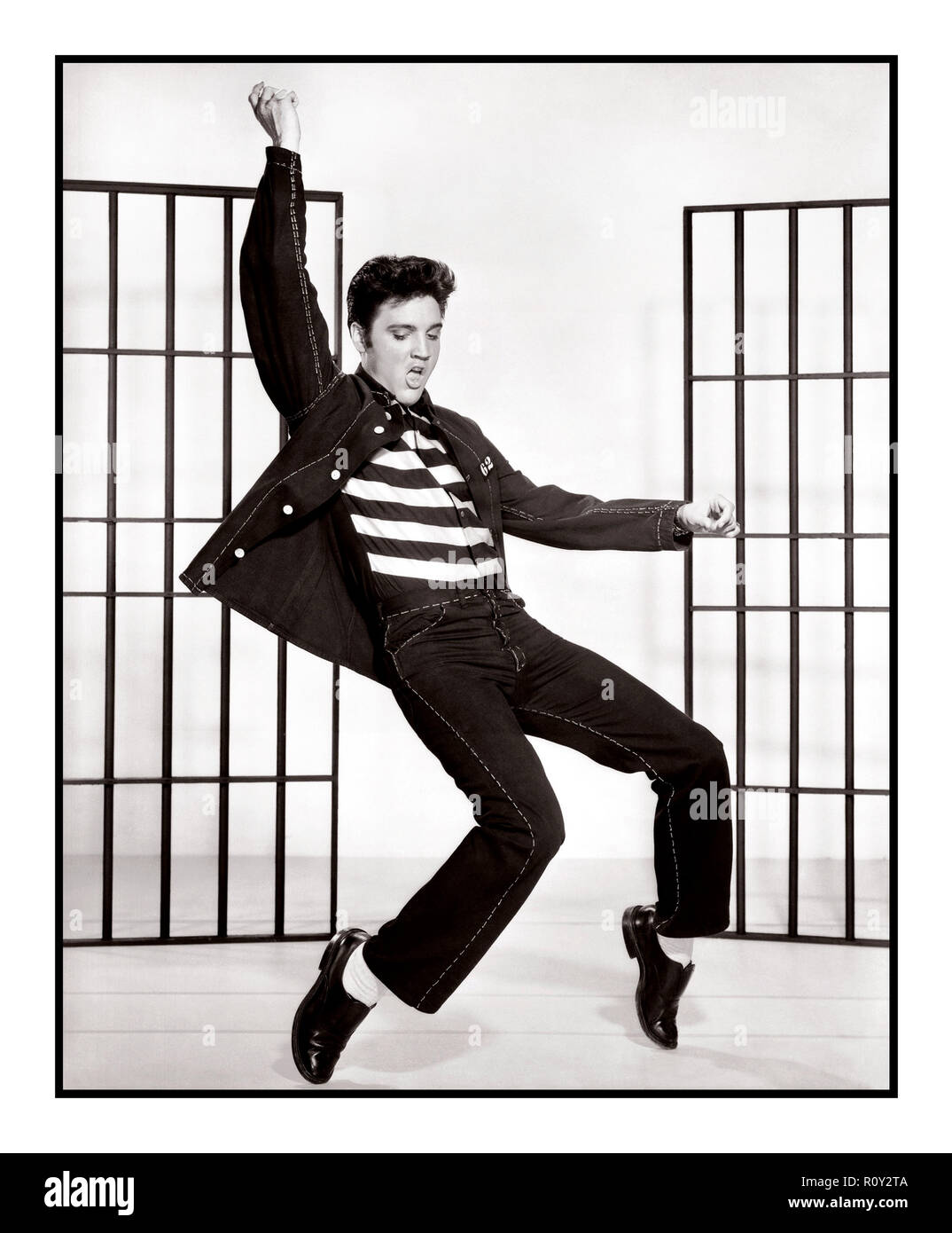 Elvis Presley film still from the iconic seminal Movie & Song 'Jailhouse Rock' 1957 The song Lyrics start... 'Warden threw a party in the county Jail' - Stock Image