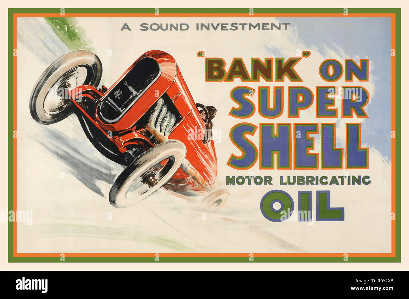 SHELL OIL 1924 vintage advertisement by artist Norman Keene was an early poster promoting use of Shell oil during the glamorous 'Roaring Twenties' era of motor racing. - Stock Image