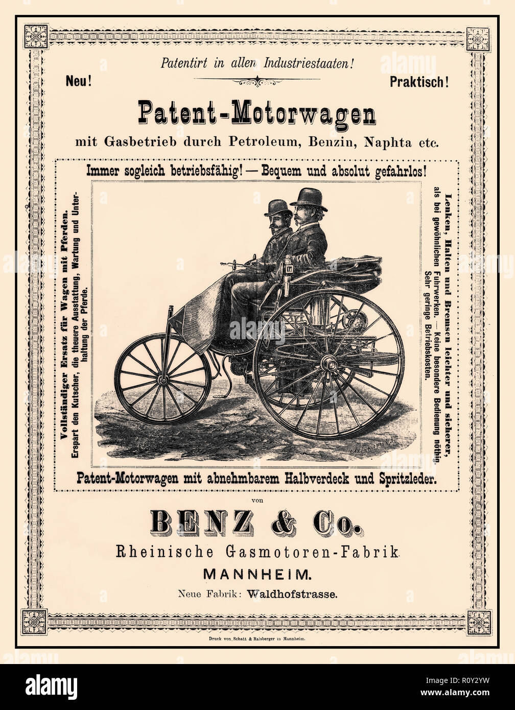 Vintage historic advertisement 1886 for 'The Patent-Motorwagen' Carl Benz unveiled his Patent-Motorwagen, the world's first motor car, in 1886. By 1894, a total of 25 had been built, with engine outputs varying between 1.5 and 3 horsepower (1.1-2.2 kW). The original Patent-Motorwagen was the Type I. It had steel-spoked wheels as well as further design details that took their cue from state-of-the-art bicycle manufacture at that time. - Stock Image