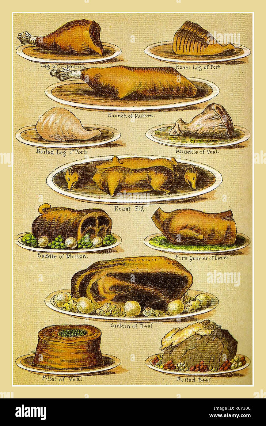 Vintage lithograph plated meats variety including Veal, Boiled Pork, Suckling Pig, Lamb fore quarter, Saddle Mutton, Sirloin Beef, Mrs Beetons Everyday Cookery. Ward Lock & Co London & New York 1907 - Stock Image