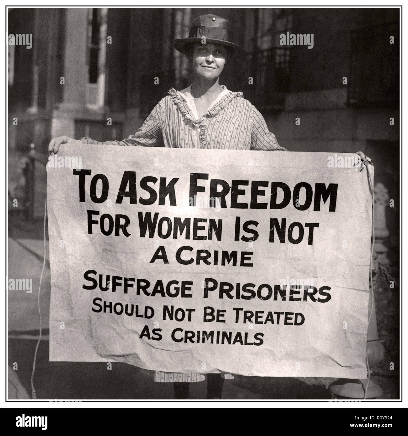 Vintage Women's suffrage Suffrage Image Woman Suffrage Picket Protests Banner Suffragist Protests Criminal Arrests of National Woman's Party Members, 1910s Washington DC Stock Photo