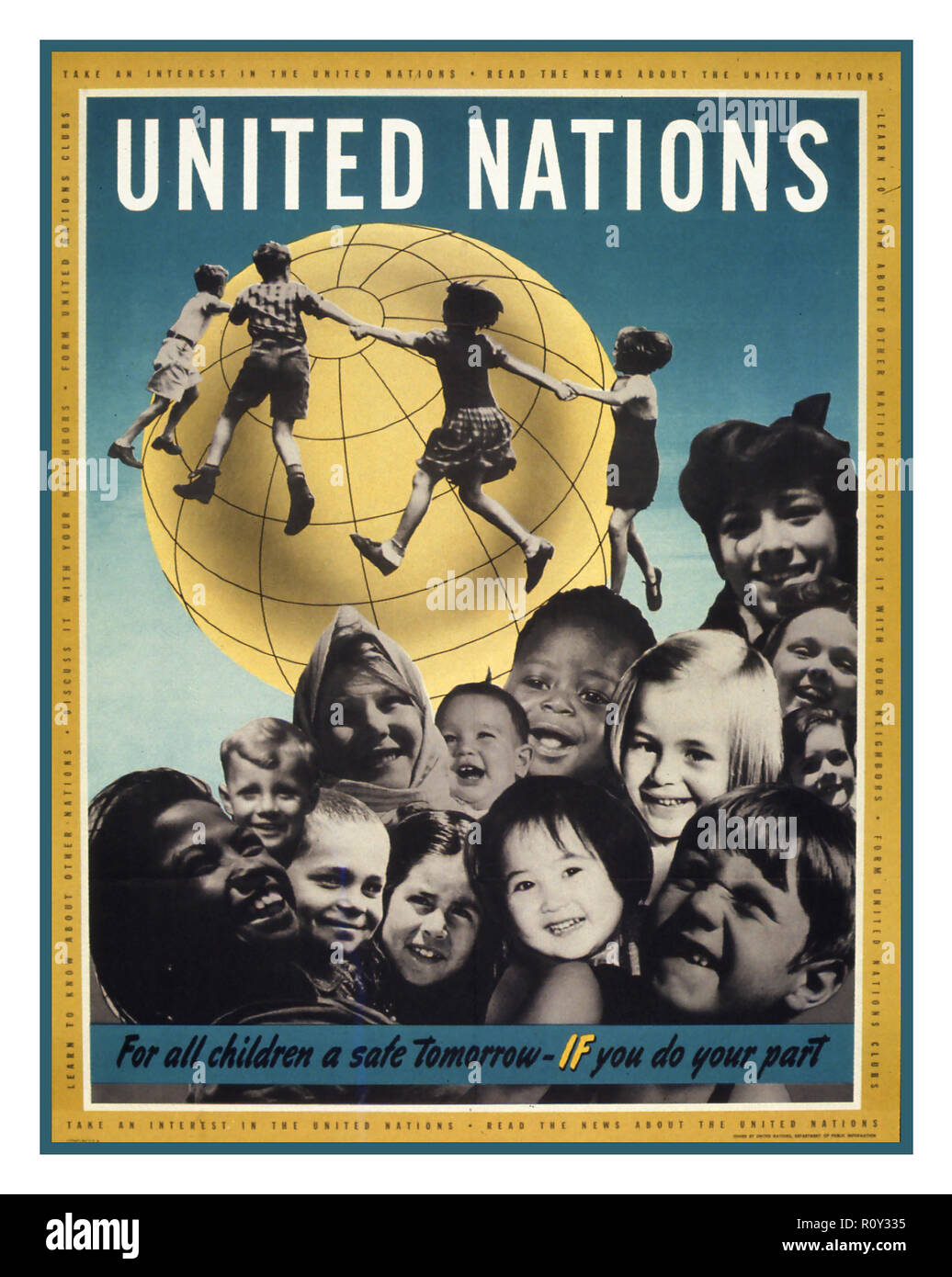 Vintage 1959 United Nations Poster 'Declaration of the Rights of the Child' illustrating a Globe with happy fulfilled children encircling it without boundaries - Stock Image