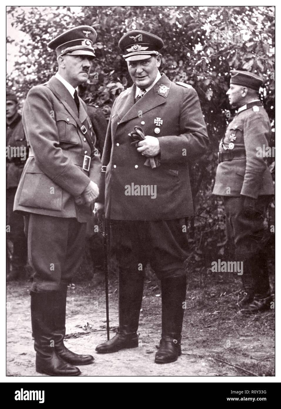 WW2 Nazi leaders Adolf Hitler and Hermann Goering in uniform 1939 World War II - Stock Image