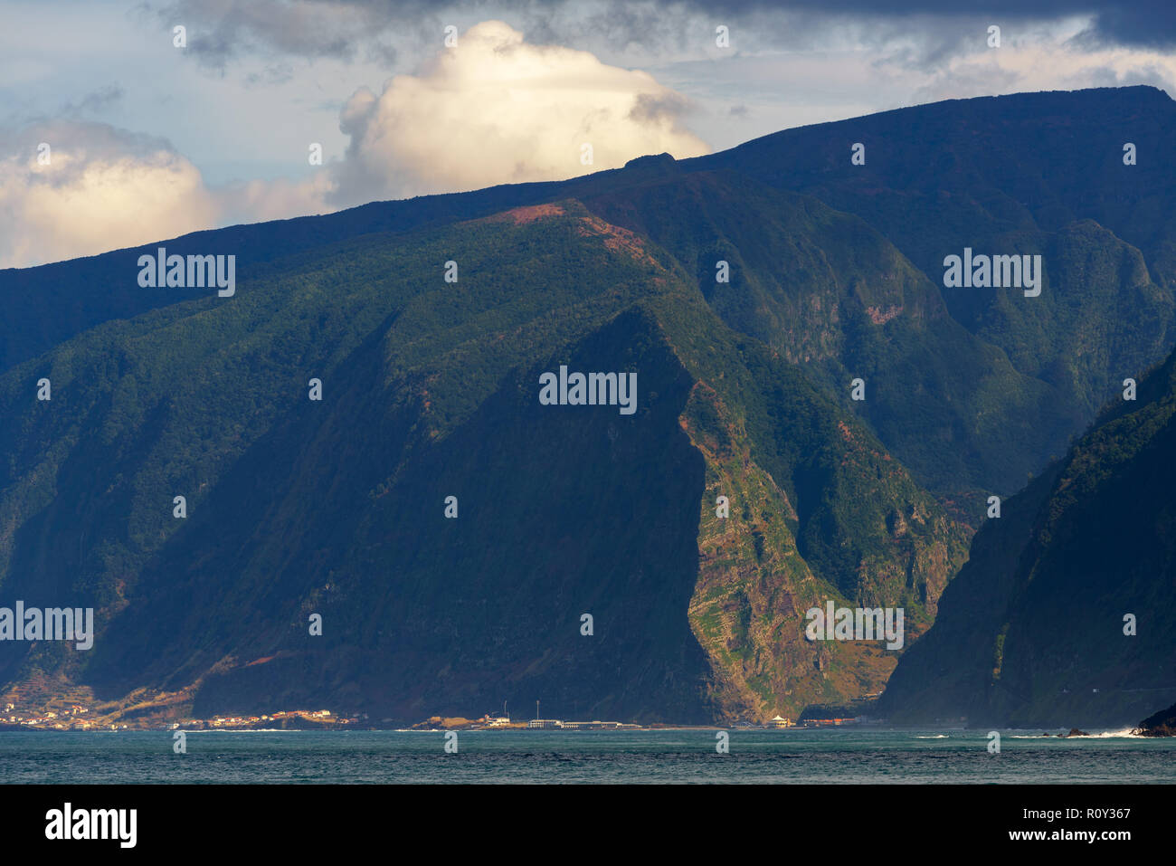 Seixal and São Vicente on the middle of the mountain landscape in Madeira - Stock Image