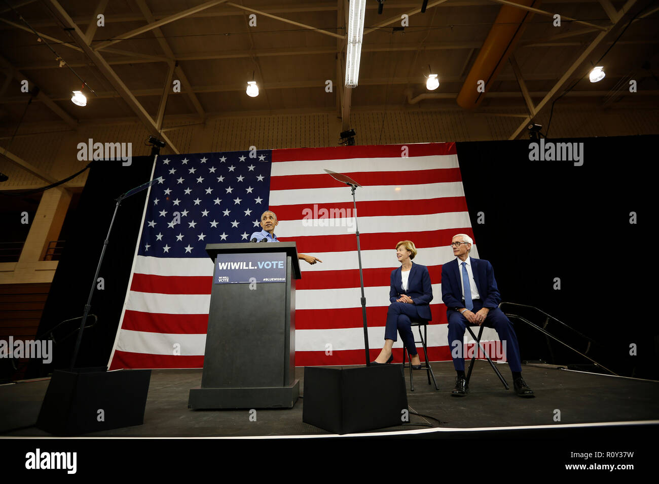 Former U.S. President Obama speaks during a campaign rally for democratic candidates Tony Evers and U.S. Senator Baldwin in Milwaukee, Wisconsin. - Stock Image