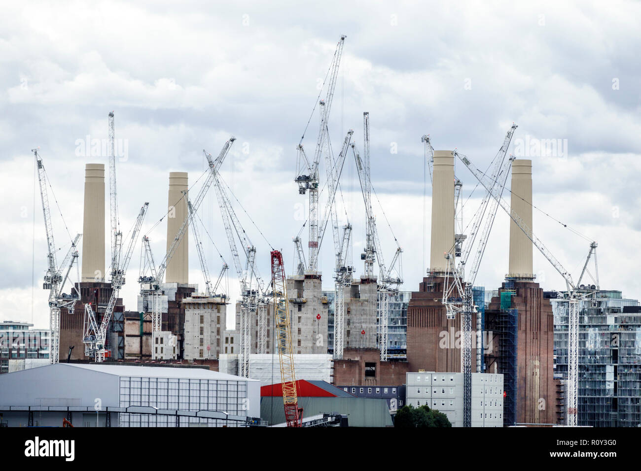 London England United Kingdom Great Britain Battersea Power Station Estates repurpose abandoned industrial site redevelopment revitalization chimneys - Stock Image