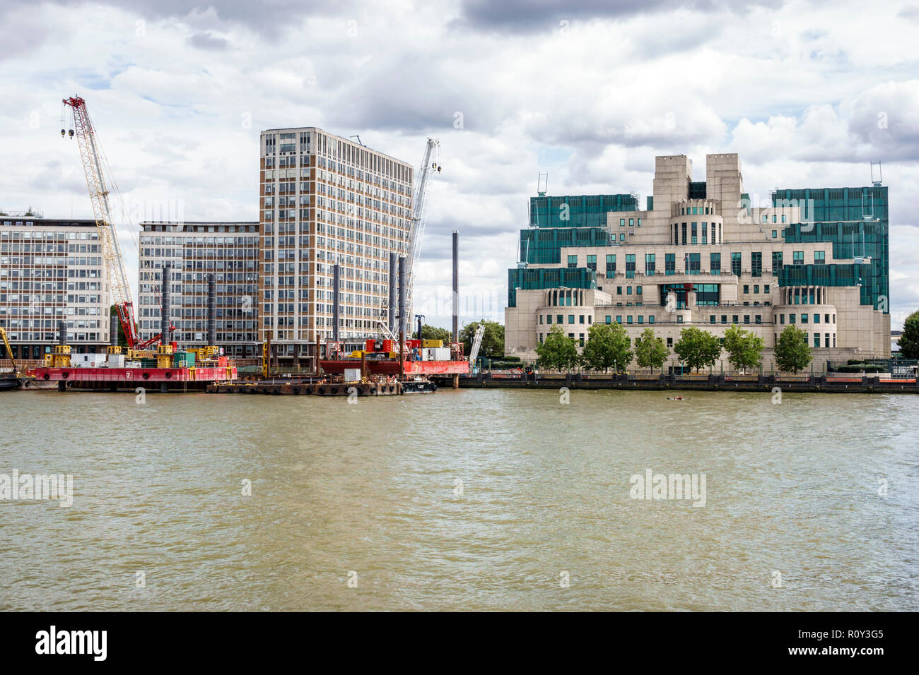 London England United Kingdom Great Britain Lambeth Vauxhall Thames River MI6 Counter Terrorism Command CTC SO15 Specialist Operations branch London's - Stock Image