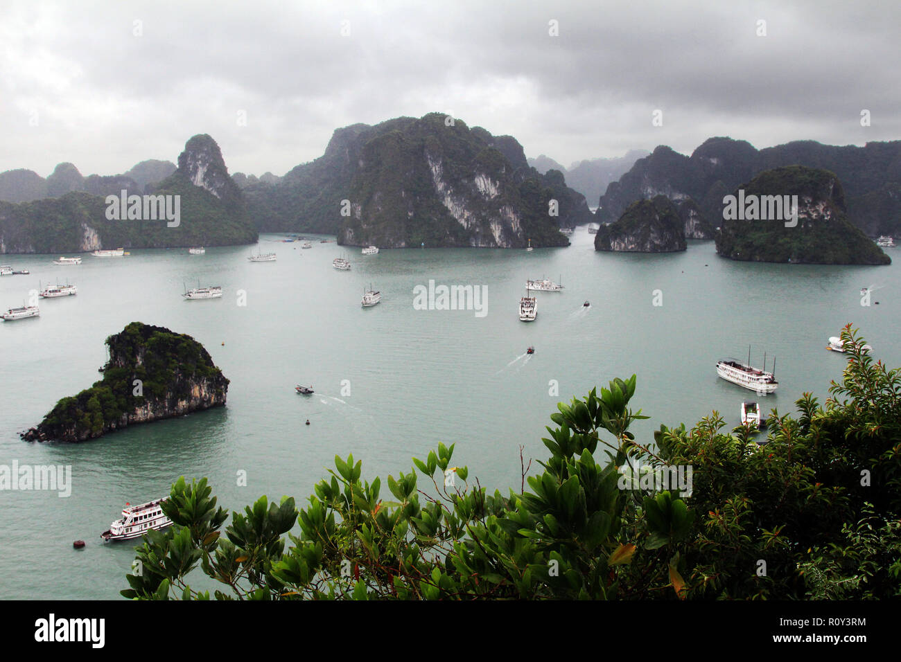 Birdseye view from an overlook at Ha Long Bay, Vietnam - Stock Image