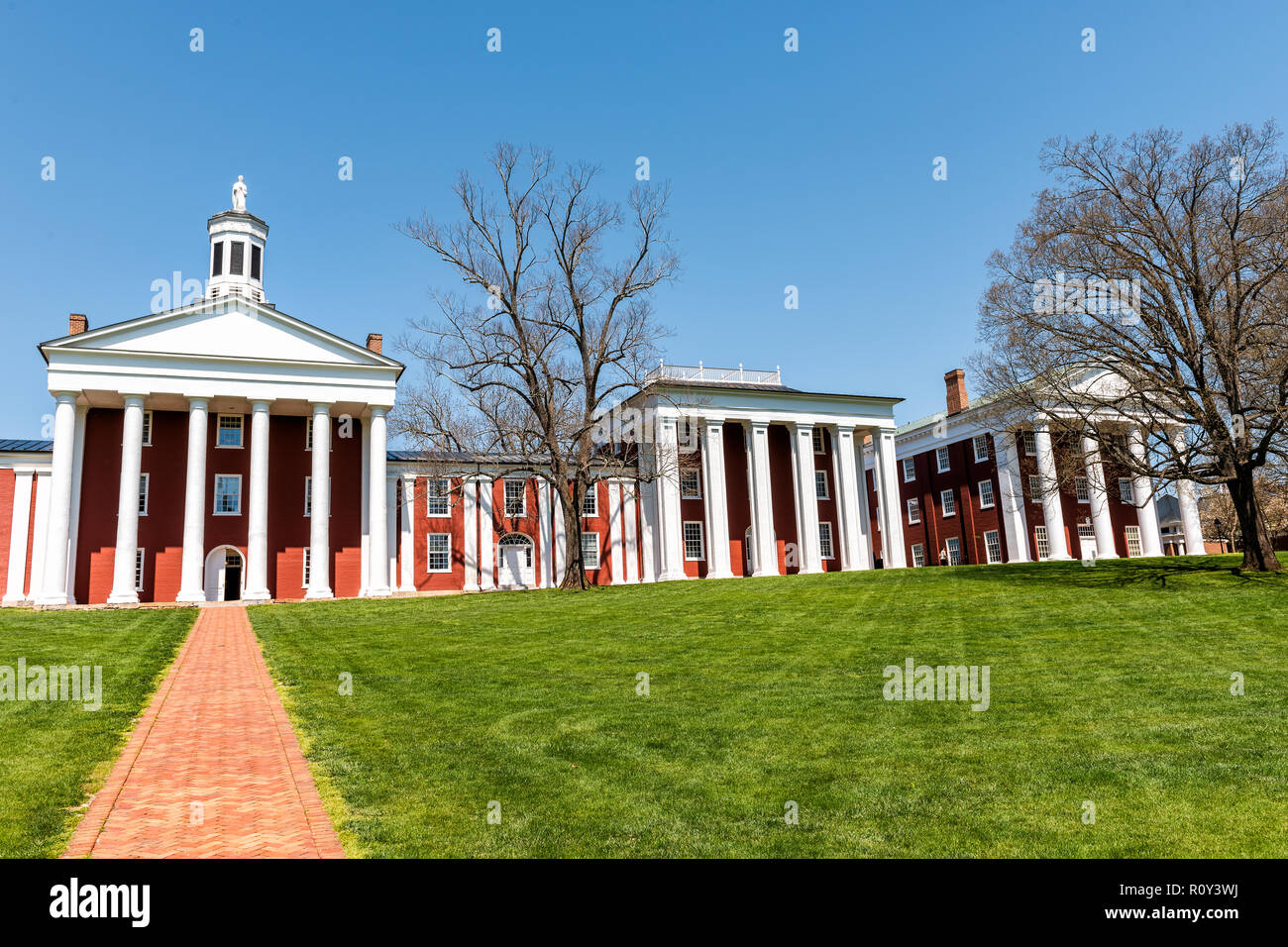 Lexington, USA - April 18, 2018: Washington and Lee University hall in Virginia exterior facade during sunny day exterior orange brick architecture - Stock Image