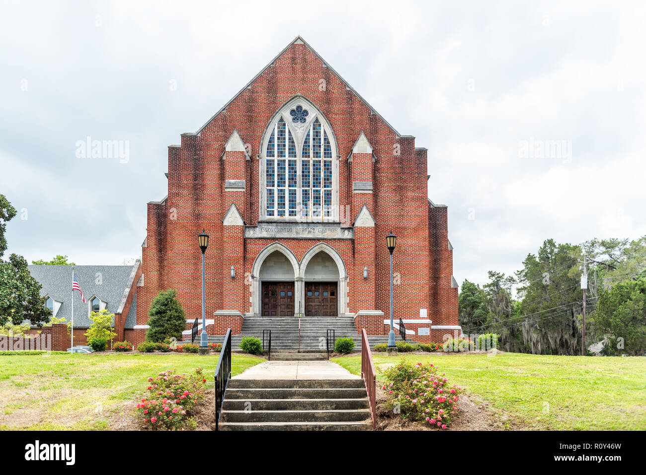 Montgomery, USA - April 21, 2018: Exterior facade of brick Cloverdale church steps entrance during day in capital Alabama city, nobody, on Fairview Av - Stock Image