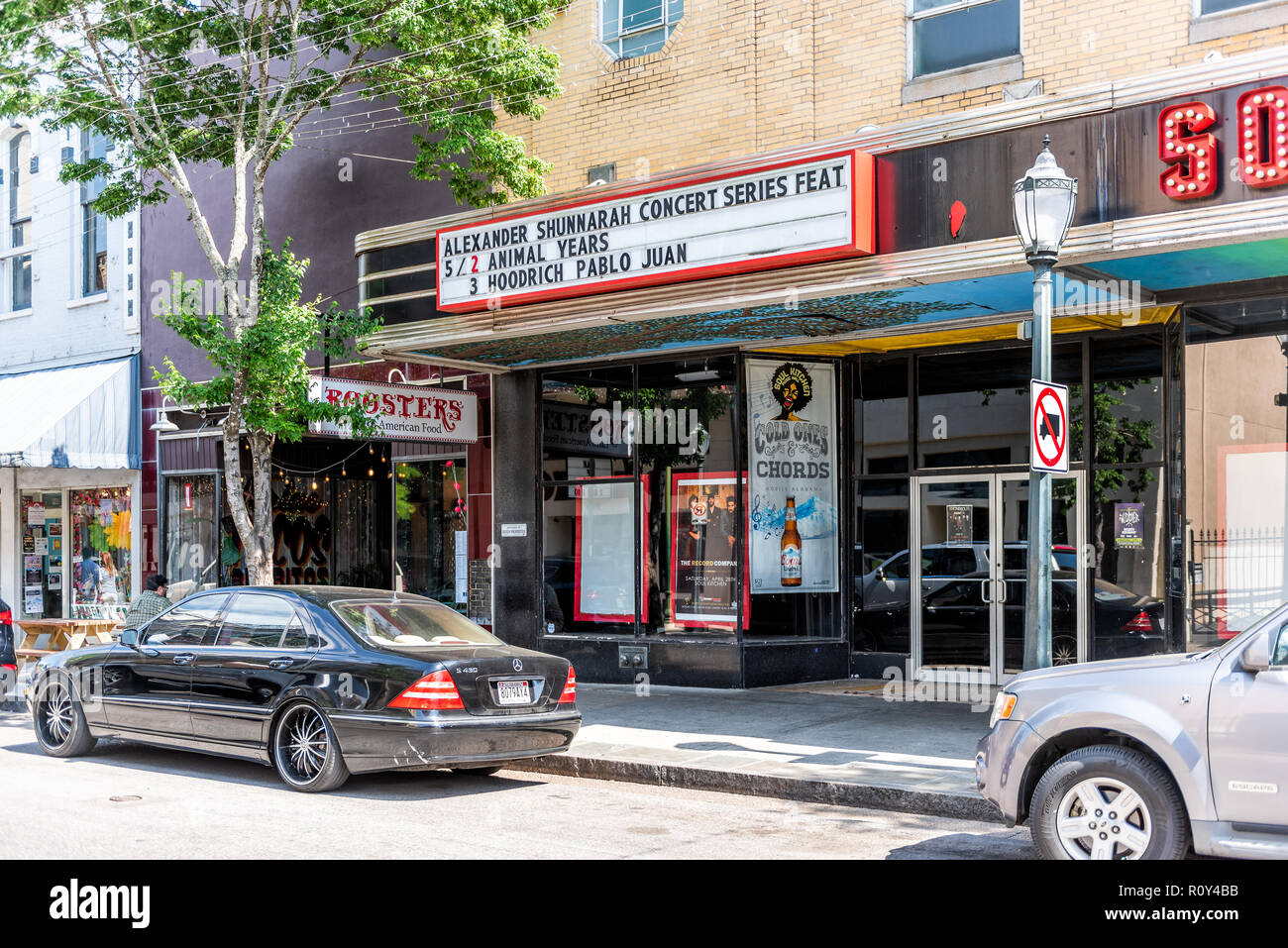Mobile, USA - April 22, 2018: Old town Dauphin street in Alabama famous southern town, city, concert theater during sunny day - Stock Image