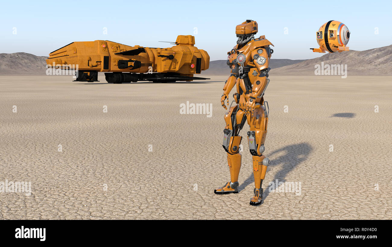 Cyborg worker with spaceship and drone, humanoid robot with spacecraft exploring deserted planet, mechanical android, 3D render Stock Photo