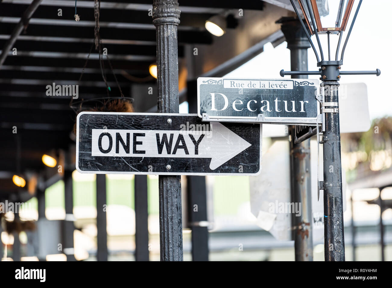 New Orleans, USA Decatur street intersection sign in Louisiana town, city, nobody, French Quarter, one way - Stock Image