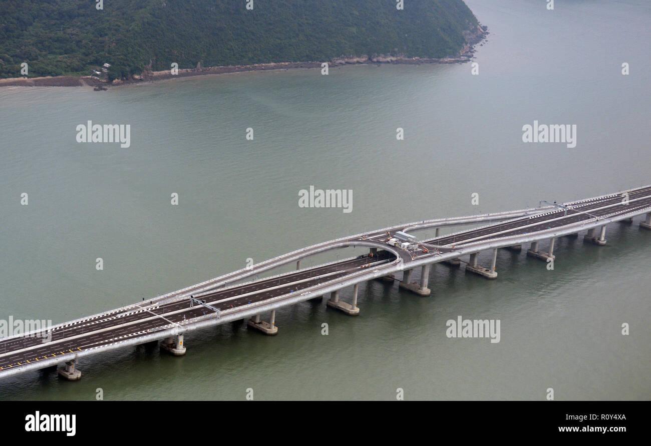 Aerial view of t he Hong Kong-Zuhari-Macau bridge. - Stock Image