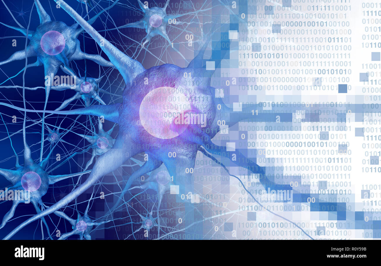 AI and neuroscience or digital neurology brain function concept as artificial intelligence or virtual reality technology as a 3D rendering. - Stock Image