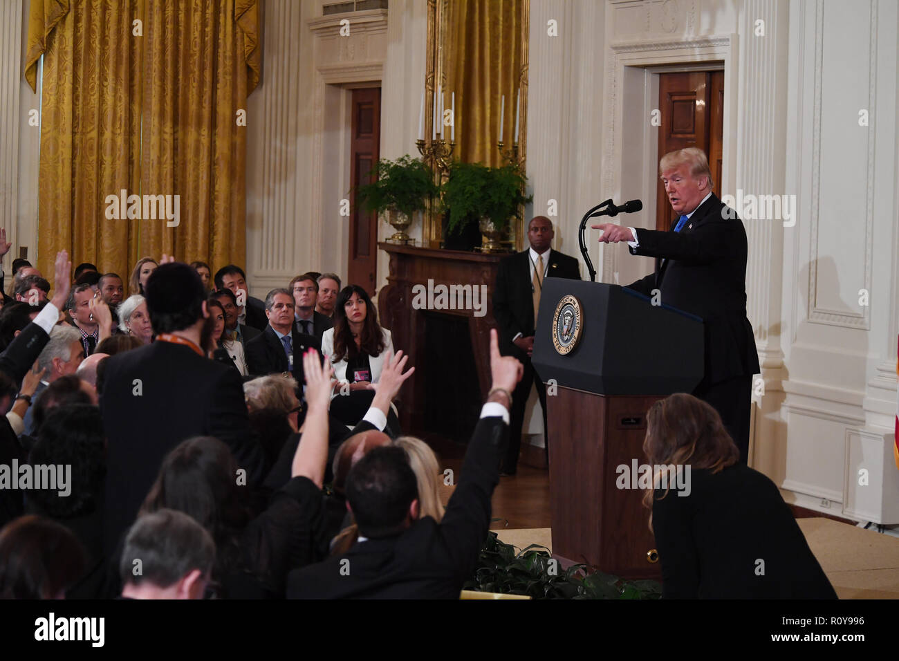 Washington, District of Columbia, USA. 7th Nov, 2018. 11/7/18- The White House-Washington DC.President Donald Trump Holds a press conference in The East Room of The White House following the mid term election results. photos by: - ImageCatcher News Credit: Christy Bowe/Globe Photos/ZUMA Wire/Alamy Live News Stock Photo
