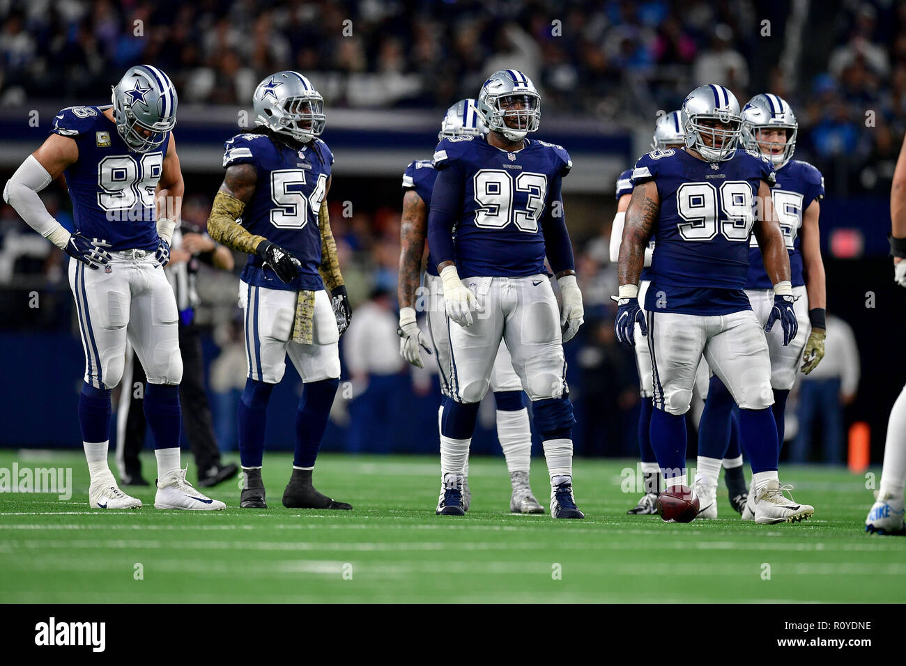 November 05, 2018:.Dallas Cowboys defensive tackle Daniel Ross (93) and the defensive line during an NFL football game between the Tennessee Titans and Dallas Cowboys at AT&T Stadium in Arlington, Texas. Manny Flores/CSM - Stock Image