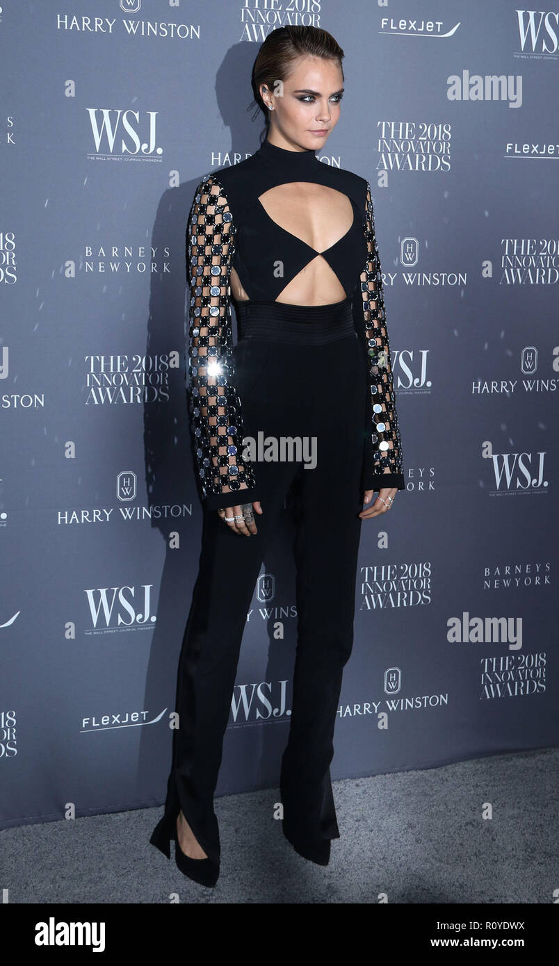 November 7, 2018 - New York City, New York, U.S. - Model CARA DELEVINGNE attends the WSJ. Magazine 2018 Innovator Awards held at the Museum of Modern Art. (Credit Image: © Nancy Kaszerman/ZUMA Wire) - Stock Image