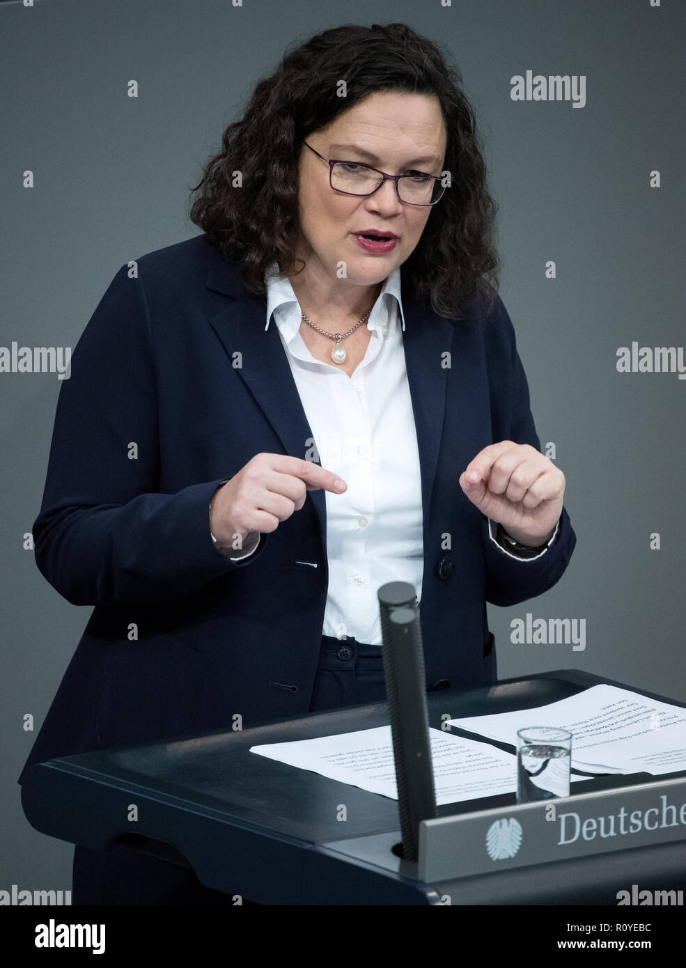 Berlin, Germany. 08th Nov, 2018. Andrea Nahles, chairwoman of the SPD parliamentary group, will speak during the plenary session of the German Bundestag. Topics of the 61st session of the 19th legislative period include the pension package introduced by the Federal Government, additional safe countries of origin, tax relief for families, changes in asylum law, accelerated traffic planning and a current hour on the INF (Intermediate Range Nuclear Forces) nuclear disarmament treaty. Credit: Bernd von Jutrczenka/dpa/Alamy Live News - Stock Image