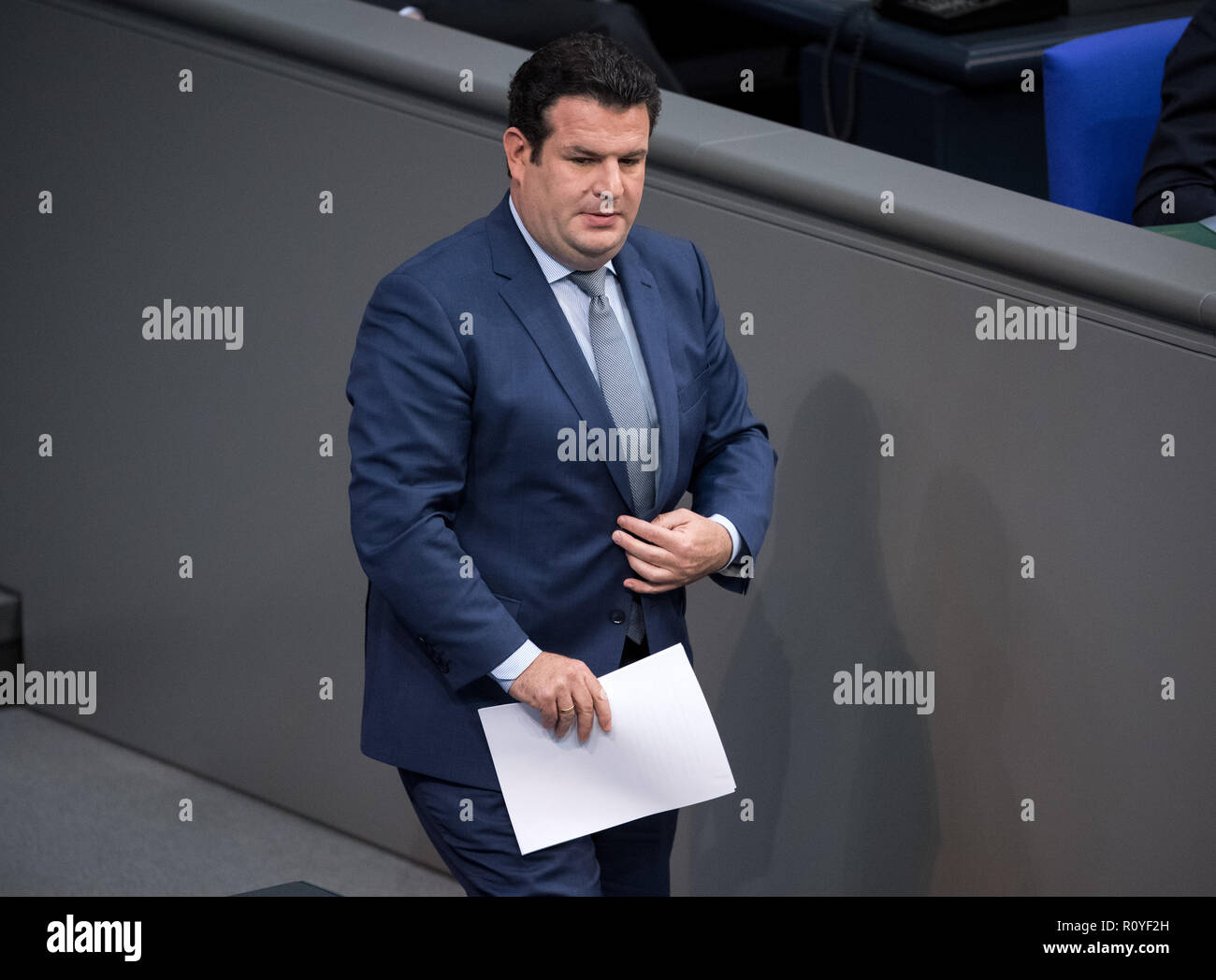 Berlin, Germany. 08th Nov, 2018. Hubertus Heil (SPD), Federal Minister of Labour and Social Affairs, will take the podium during the plenary session in the German Bundestag. Topics of the 61st session of the 19th legislative period include the pension package introduced by the Federal Government, additional safe countries of origin, tax relief for families, changes in asylum law, accelerated traffic planning and a current hour on the INF (Intermediate Range Nuclear Forces) nuclear disarmament treaty. Credit: Bernd von Jutrczenka/dpa/Alamy Live News Credit: Bernd von Jutrczenka/dpa/Alamy Live N - Stock Image
