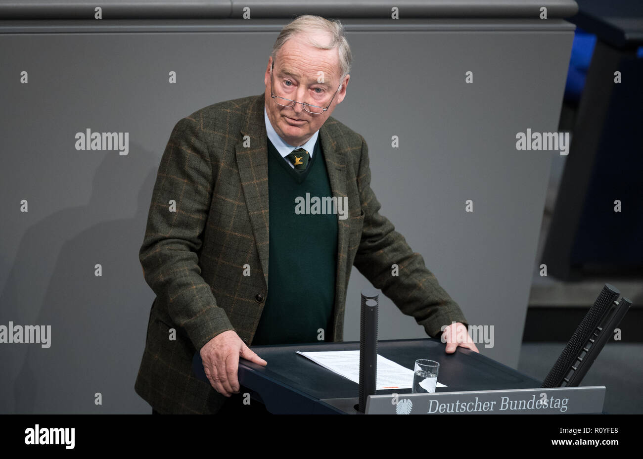 Berlin, Germany. 08th Nov, 2018. Alexander Gauland, Chairman of the AfD Parliamentary Group, speaks during the plenary session in the German Bundestag. Topics of the 61st session of the 19th legislative period include the pension package introduced by the Federal Government, additional safe countries of origin, tax relief for families, changes in asylum law, accelerated traffic planning and a current hour on the INF (Intermediate Range Nuclear Forces) nuclear disarmament treaty. Credit: Bernd von Jutrczenka/dpa/Alamy Live News Credit: Bernd von Jutrczenka/dpa/Alamy Live News - Stock Image