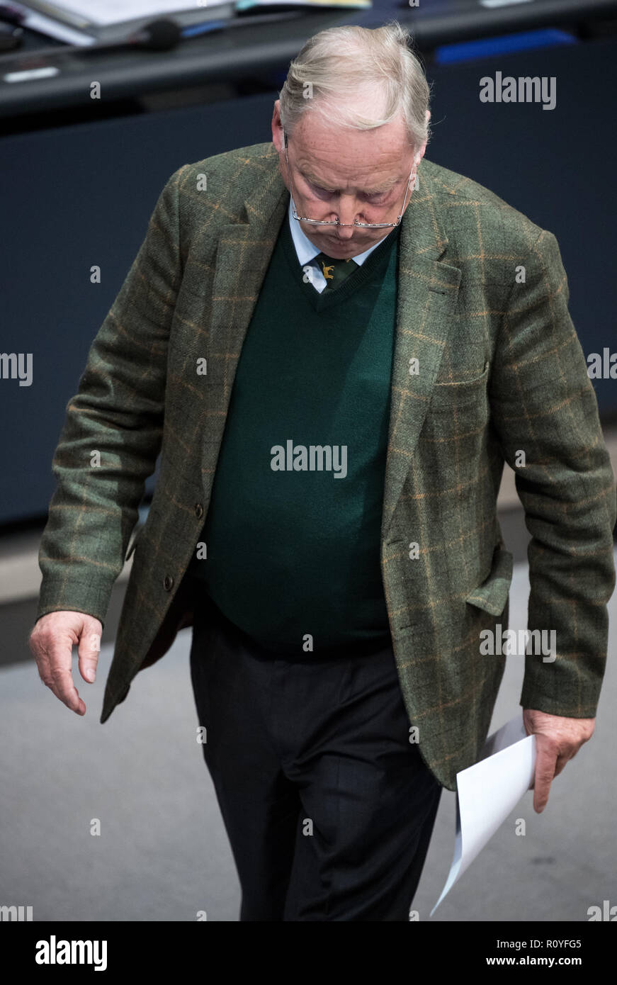 Berlin, Germany. 08th Nov, 2018. Alexander Gauland, chairman of the AfD Bundestag faction, will go to his seat after his speech during the plenary session of the German Bundestag. Topics of the 61st session of the 19th legislative period include the pension package introduced by the Federal Government, additional safe countries of origin, tax relief for families, changes in asylum law, accelerated traffic planning and a current hour on the INF (Intermediate Range Nuclear Forces) nuclear disarmament treaty. Credit: Bernd von Jutrczenka/dpa/Alamy Live News Credit: Bernd von Jutrczenka/dpa/Alamy  - Stock Image