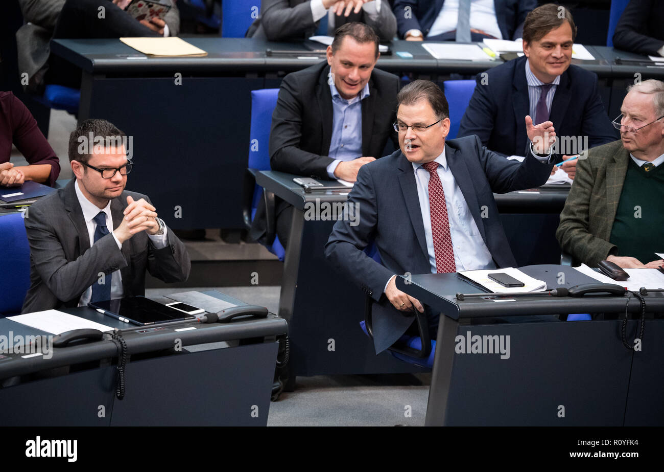 Berlin, Germany. 08th Nov, 2018. Marco Buschmann (l-r, FDP), Jürgen Braun (AfD) and Alexander Gauland, chairman of the AfD parliamentary group, argue loudly during the plenary session in the German Bundestag. Topics of the 61st session of the 19th legislative period include the pension package introduced by the Federal Government, additional safe countries of origin, tax relief for families, changes in asylum law, accelerated traffic planning and a current hour on the INF (Intermediate Range Nuclear Forces) nuclear disarmament treaty. Credit: Bernd von Jutrczenka/dpa/Alamy Live News - Stock Image