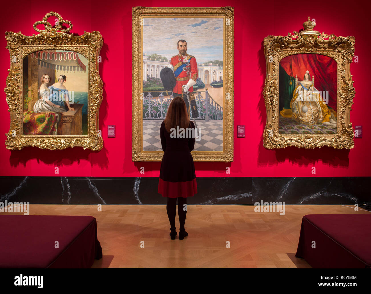 The Queen's Gallery, Buckingham Palace, London, UK. 8 November, 2018. Russia: Royalty & the Romanovs exhibition examines links between the royal houses of Britain and Russia over 300 years beginning with Peter the Great's visit to Britain in 1698. Image (centre); Nikolai Petrovich Bogdanov-Belsky, Emperor Nicholas II, 1908. Credit: Malcolm Park/Alamy Live News. - Stock Image