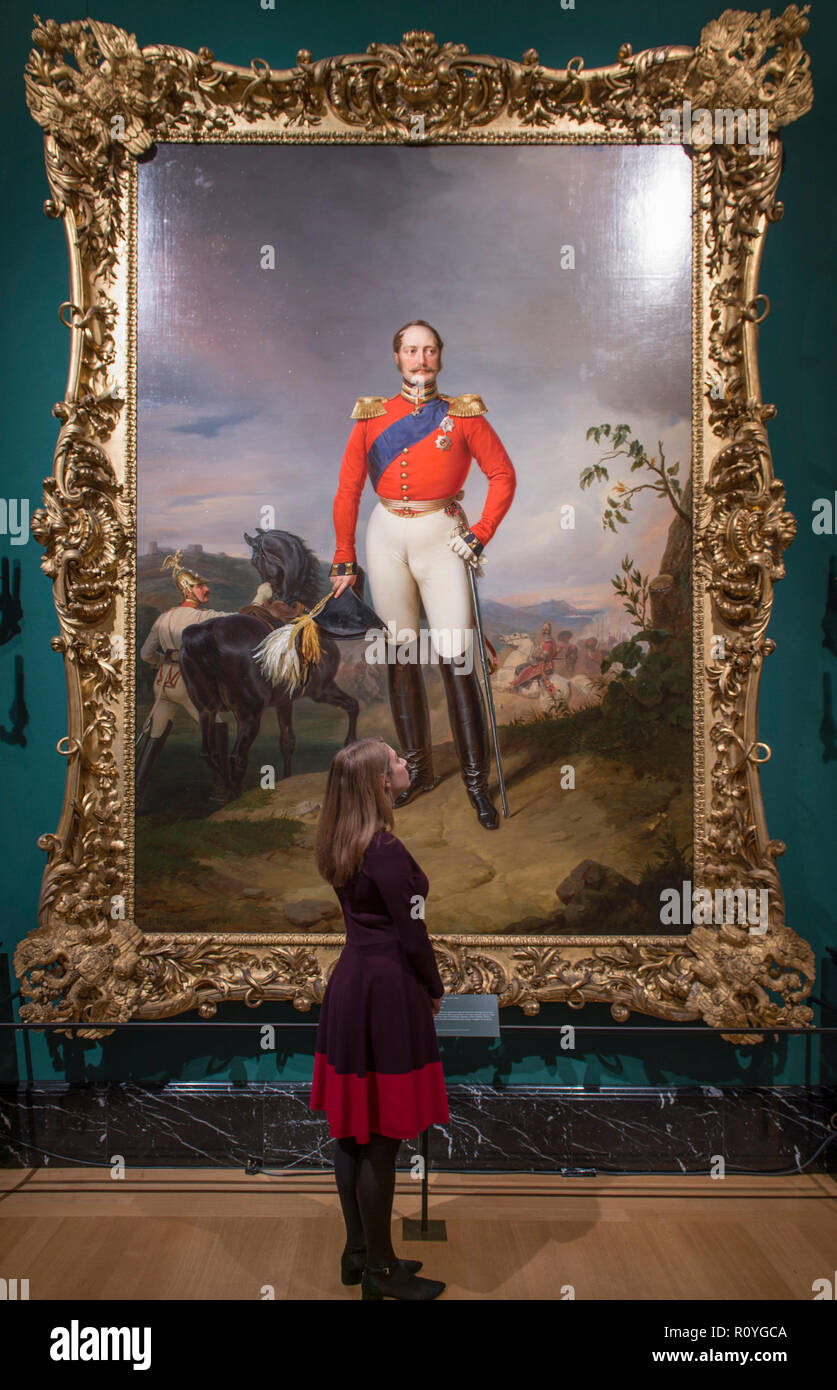 The Queen's Gallery, Buckingham Palace, London, UK. 8 November, 2018. Russia: Royalty & the Romanovs exhibition examines links between the royal houses of Britain and Russia over 300 years beginning with Peter the Great's visit to Britain in 1698. Image: Franz Krüger, Nicholas I, Emperor of Russia, 1847. Three-and-a-half metre tall portrait of Emperor Nicholas I, commissioned by the Emperor as a gift for Queen Victoria. Credit: Malcolm Park/Alamy Live News. - Stock Image