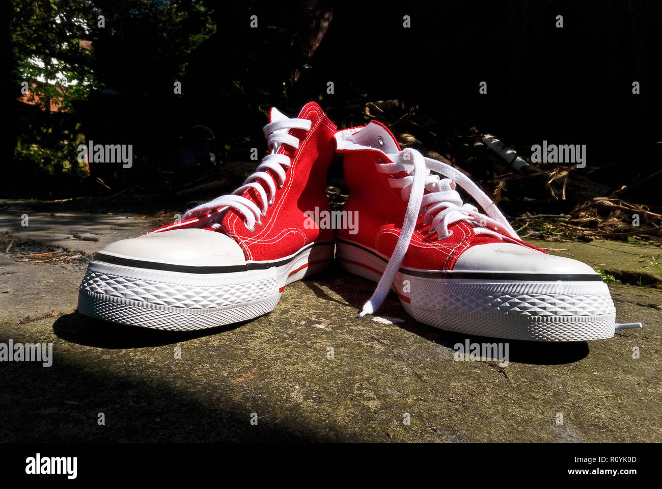 Red Pumps - Basket Ball Boots - Stock Image