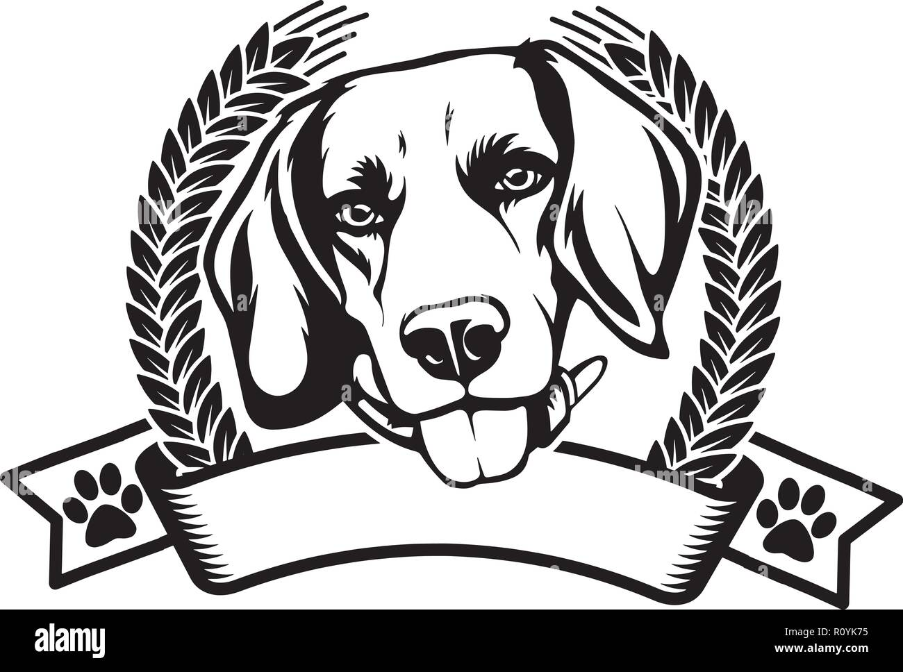 Beagle Dog Breed Head Isolated Pedigree Pet Portrait Smiling Happy Puppy Face Animal Cartoon Illustration Portrait Art Artwork Cute Design - Stock Image