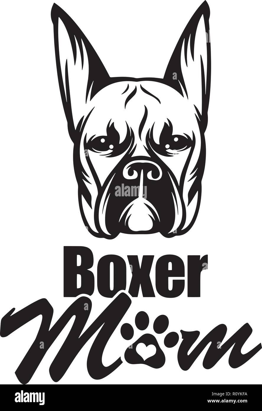 Boxer Dog Breed Head Isolated Pedigree Pet Portrait Smiling Happy Puppy Face Animal Cartoon Illustration Portrait Art Artwork Cute Design - Stock Image