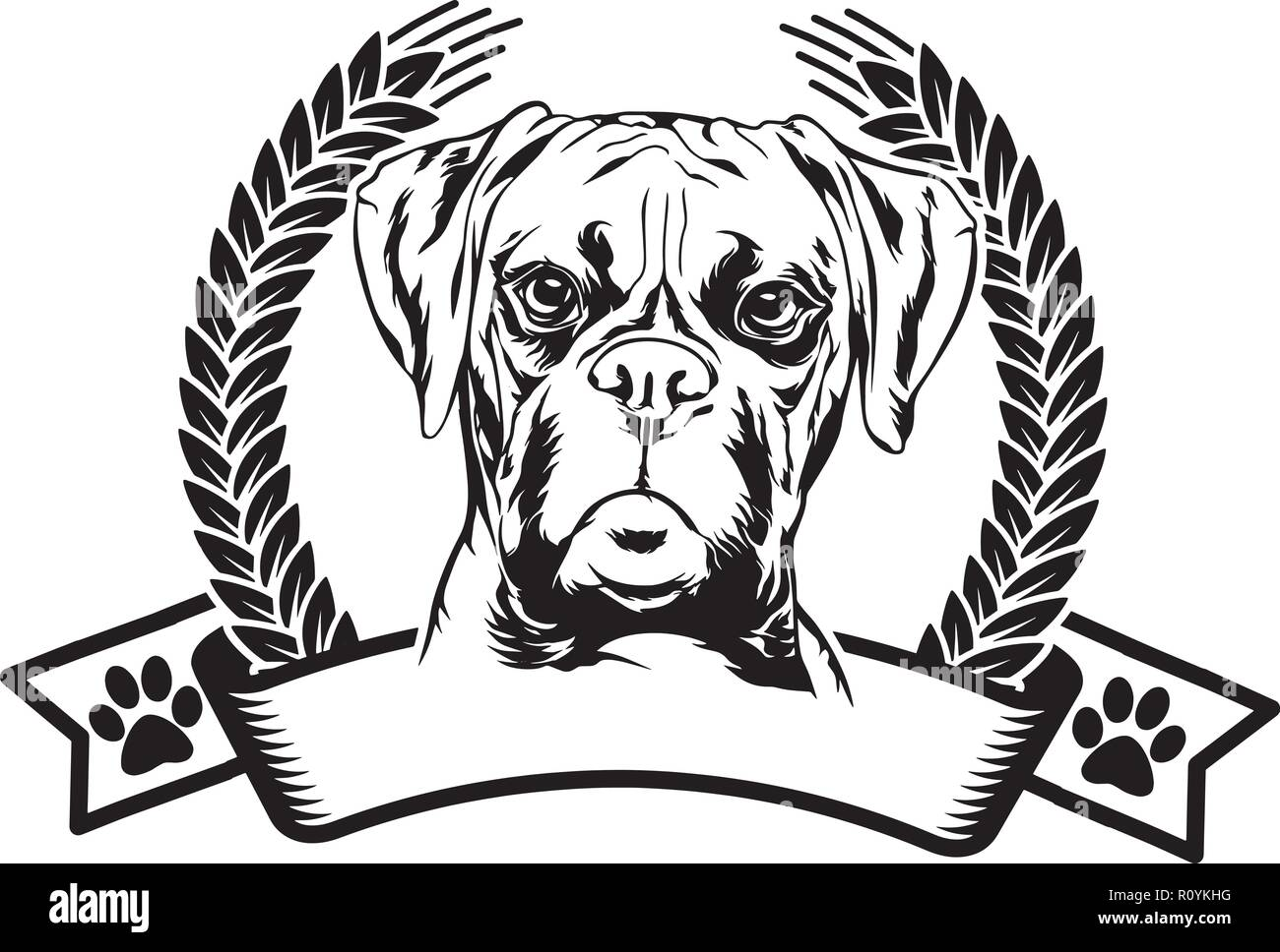 Boxer Dog Breed Head Isolated Pedigree Pet Portrait Smiling Happy Puppy Face Animal Cartoon Illustration Portrait Art Artwork Cute Design - Stock Image