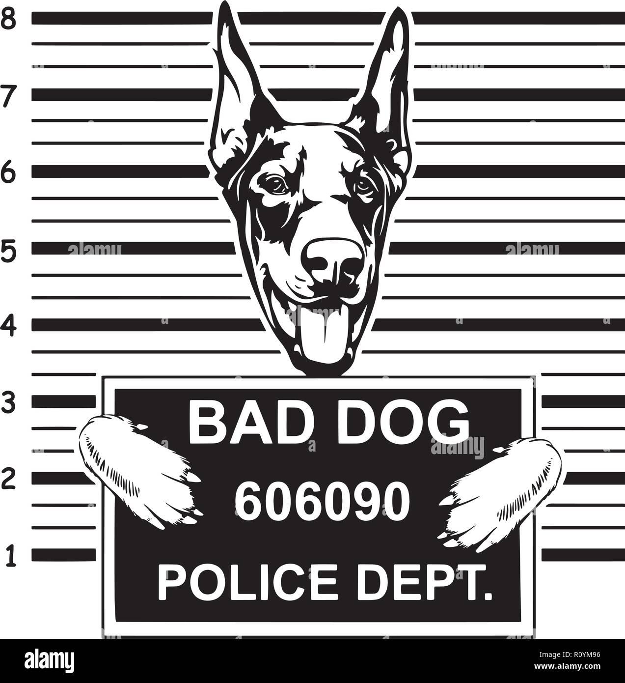 Doberman Dog Breed Head Isolated Pedigree Pet Portrait Smiling Happy Puppy Face Animal Cartoon Illustration Portrait Art Artwork Cute Design - Stock Vector