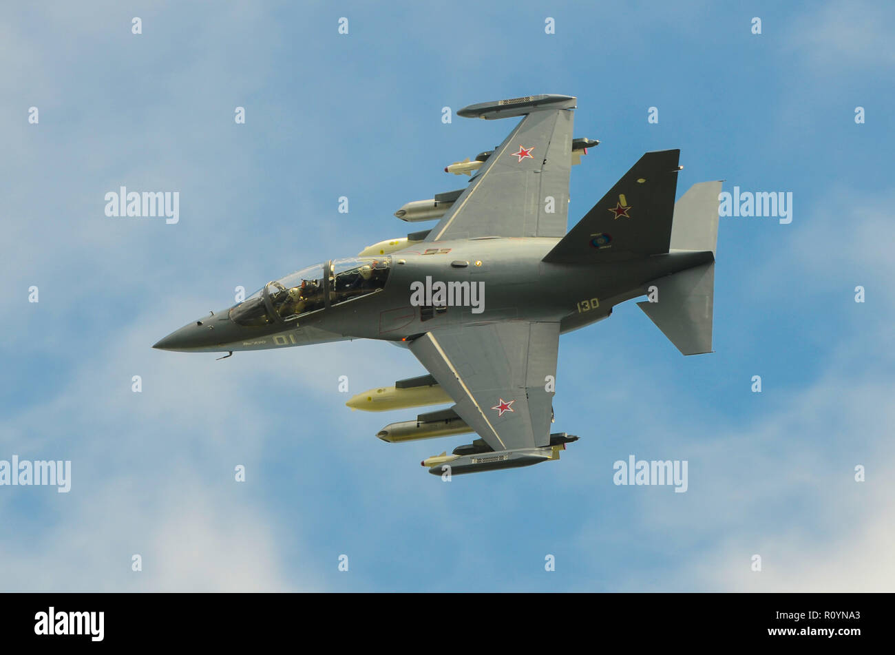 Yakovlev Yak-130 NATO subsonic two-seat advanced jet trainer and light fighter originally developed by Yakovlev and Aermacchi. Russian Air Force plane - Stock Image