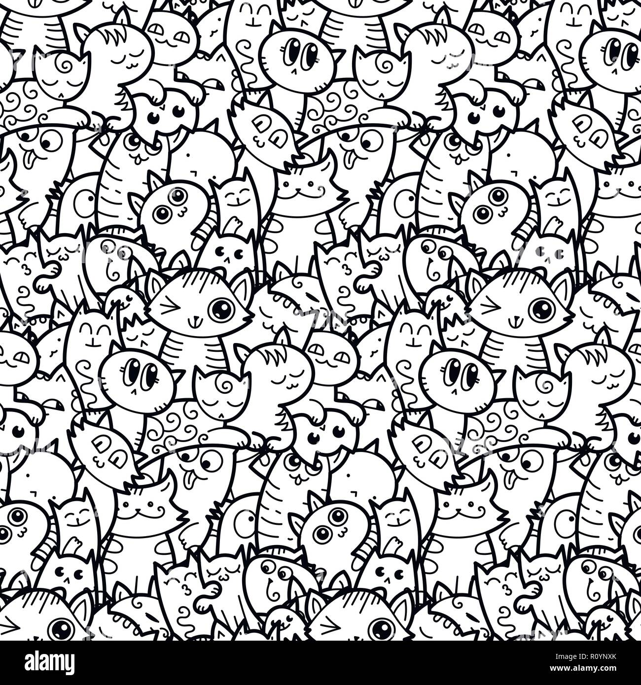 Funny Doodle Cats And Kittens Seamless Pattern For Prints Designs