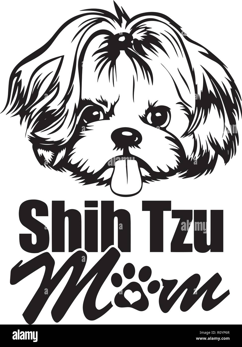 Shih Tzu Pedigree Dog Breed Head Isolated Pet Portrait Smiling Happy