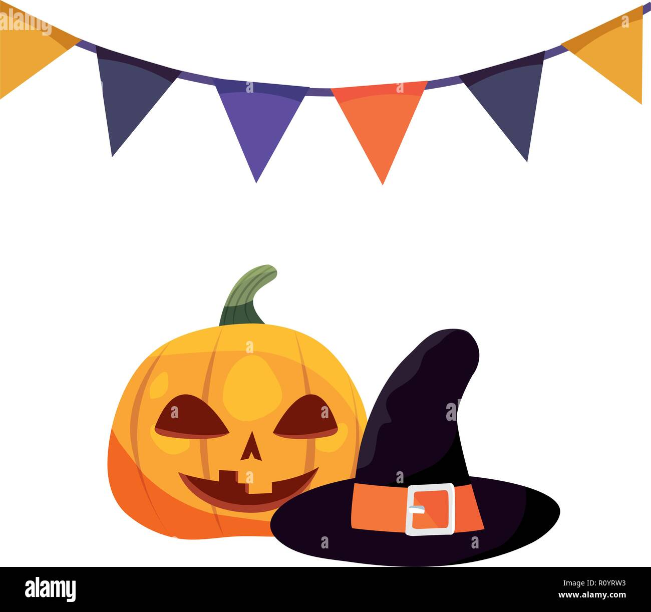 halloween pumpkins and hat costume vector illustration - Stock Vector