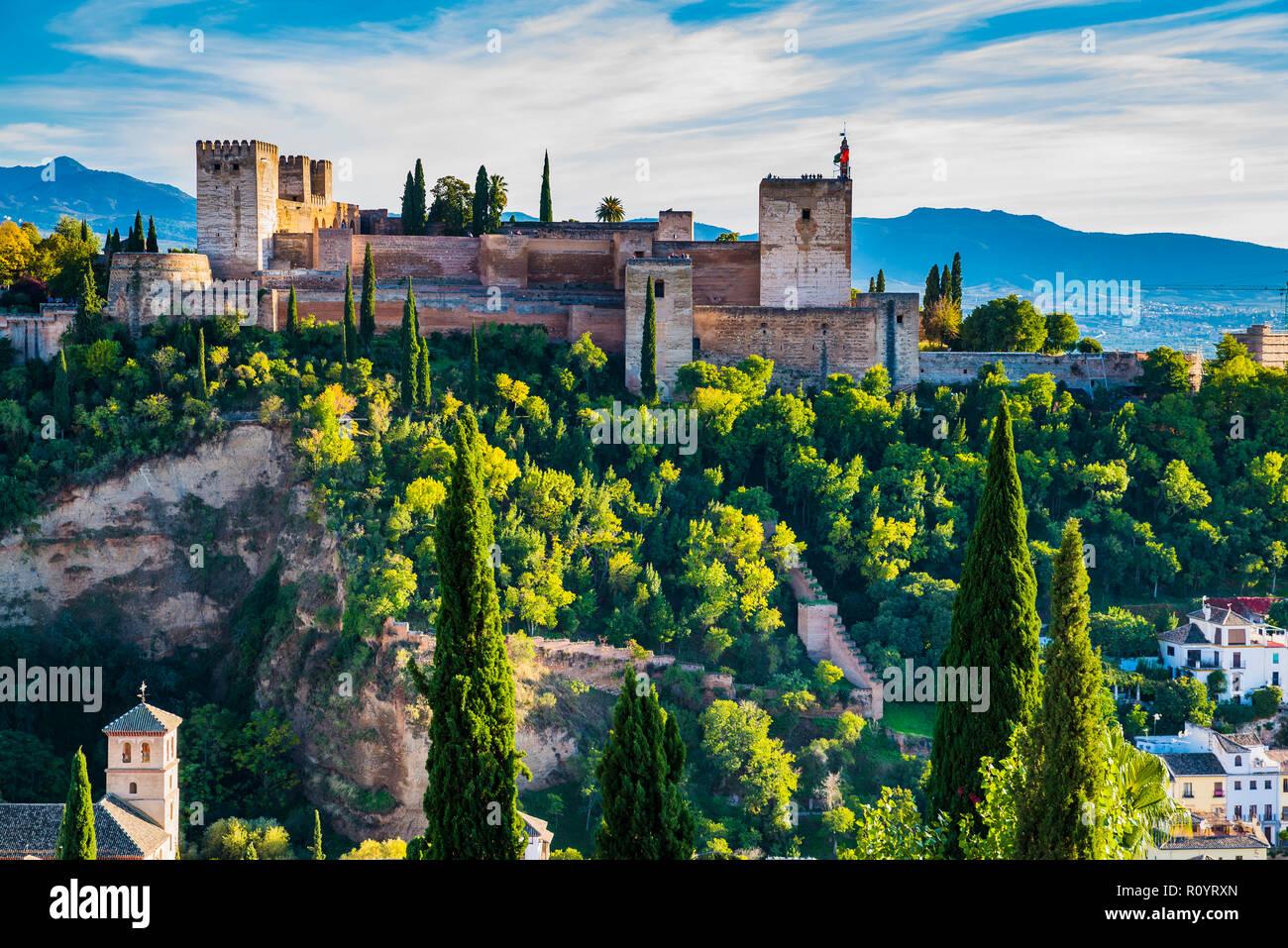 Alhambra. Alcazaba from Mirador de San Nicolas. Granada, Andalucia, Spain, Europe. Stock Photo