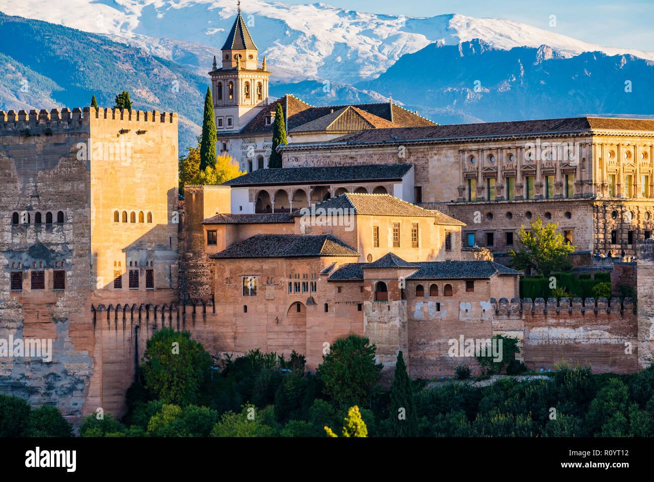 Alhambra. Nazaries Palaces and Palace of Charles V from Mirador de San Nicolas. Granada, Andalucia, Spain, Europe. - Stock Image