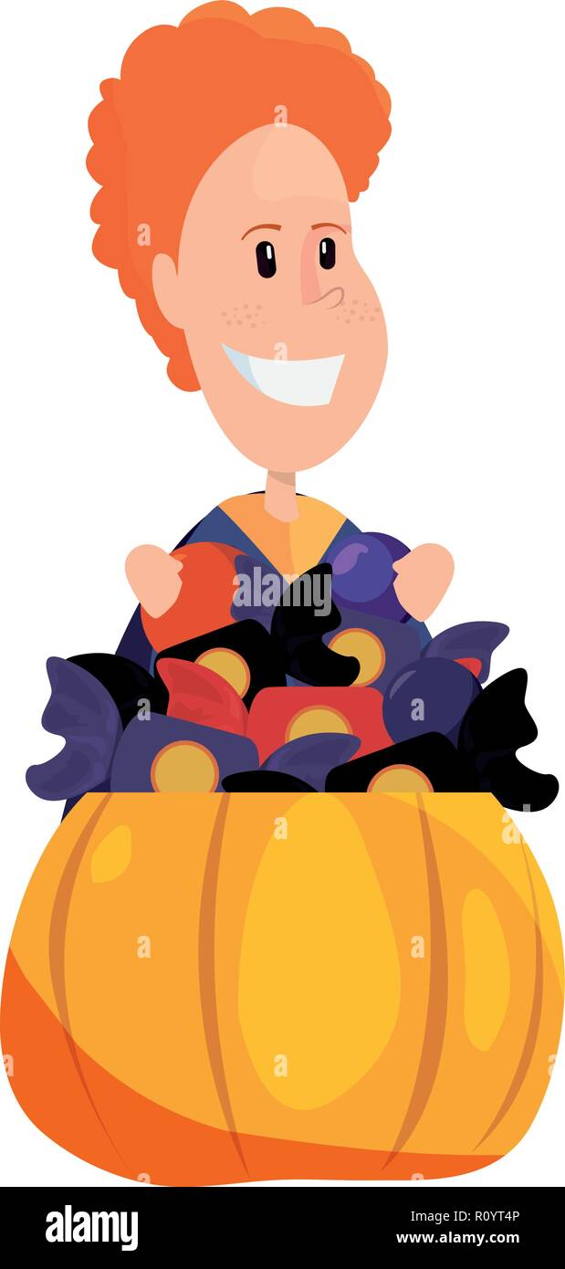happy boy in costume with pumpkin candies vector illustration Stock Vector