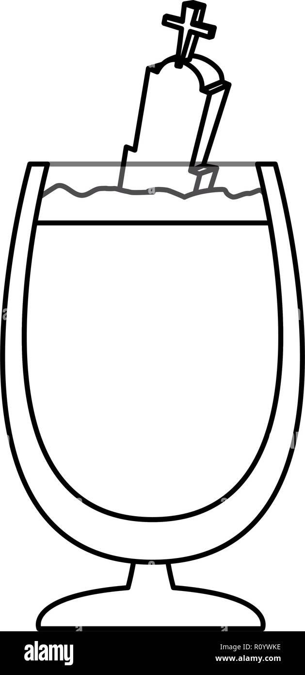 chocolate milkshake with grave halloween  vector illustration  - Stock Vector