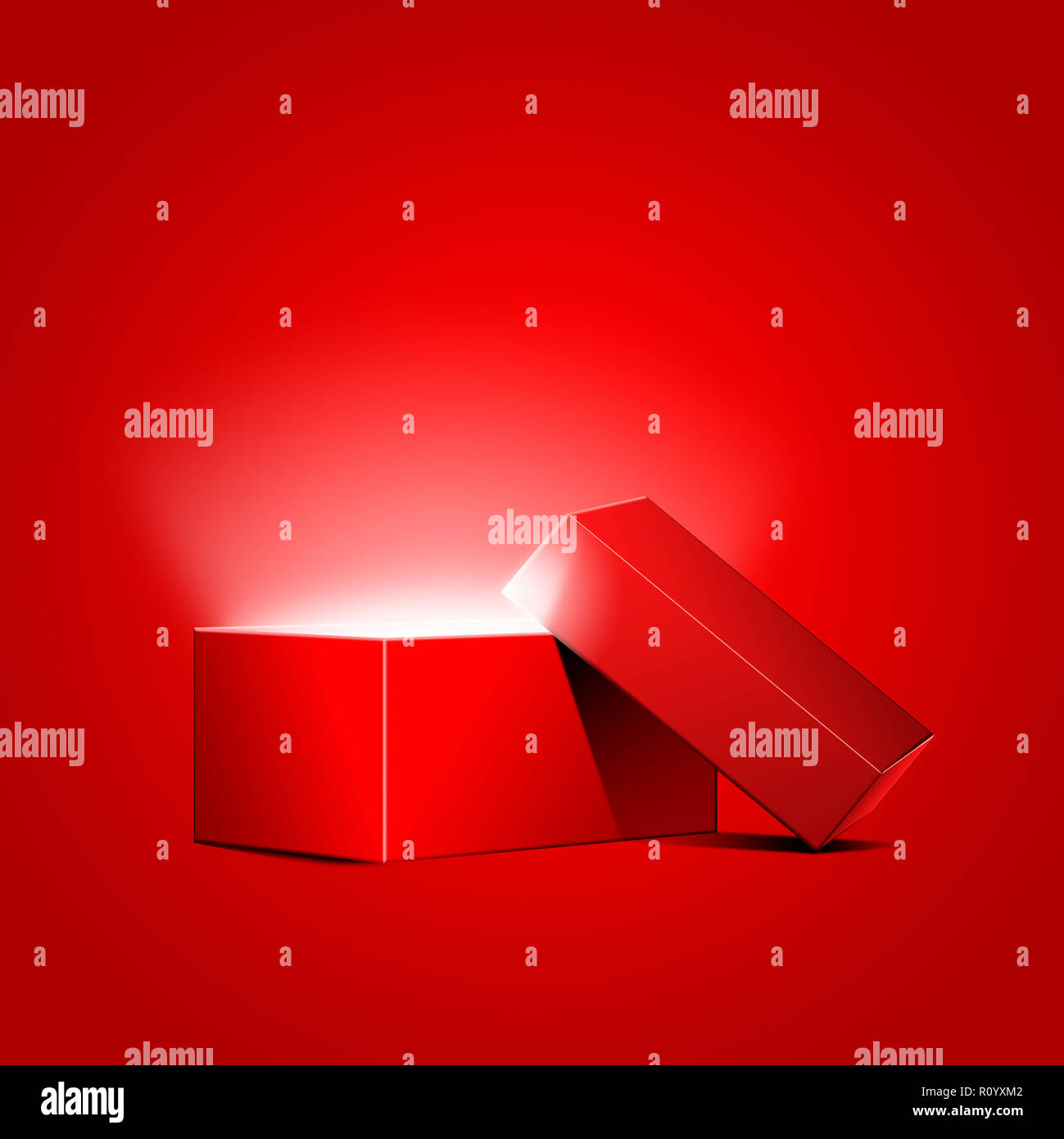 Glowing light radiating from opened red gift box against red background - Stock Image