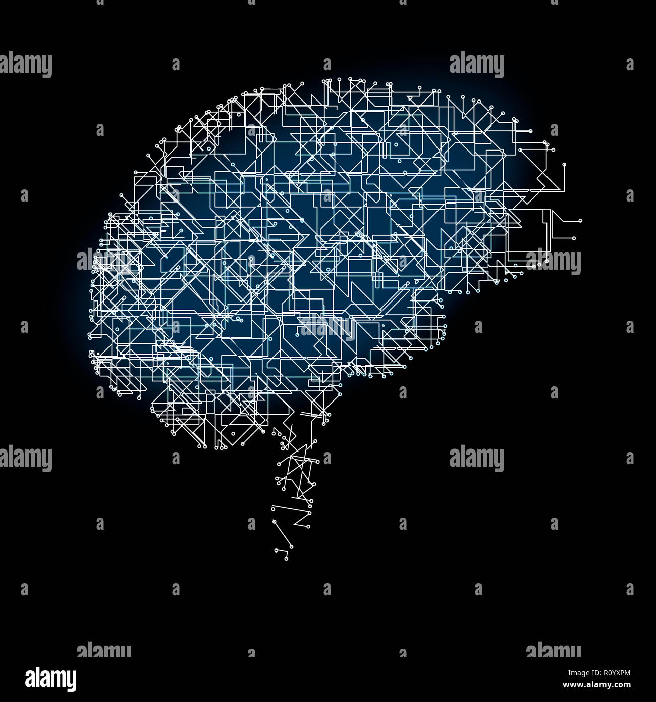 Digital image of human brain anatomy of artificial networks against black background - Stock Image