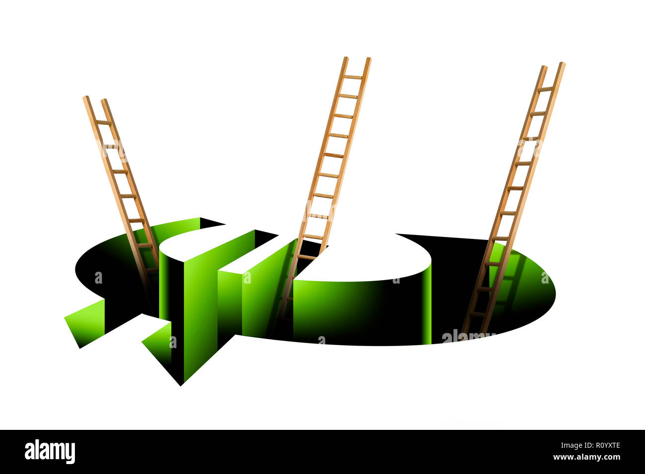 Three ladders protruding from three dimensional euro currency sign. White background - Stock Image