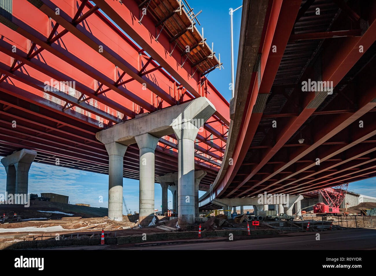 Construction of metal substructure for flyover and onramp in New Haven, Ct, USA - Stock Image