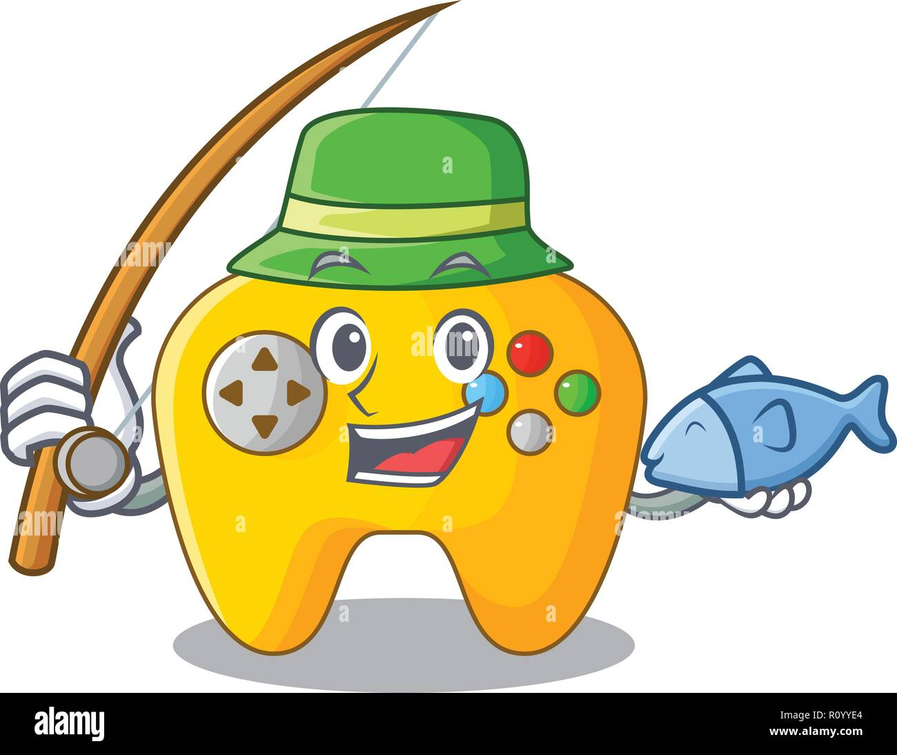 Fishing Video game controller shaped on charcter - Stock Image