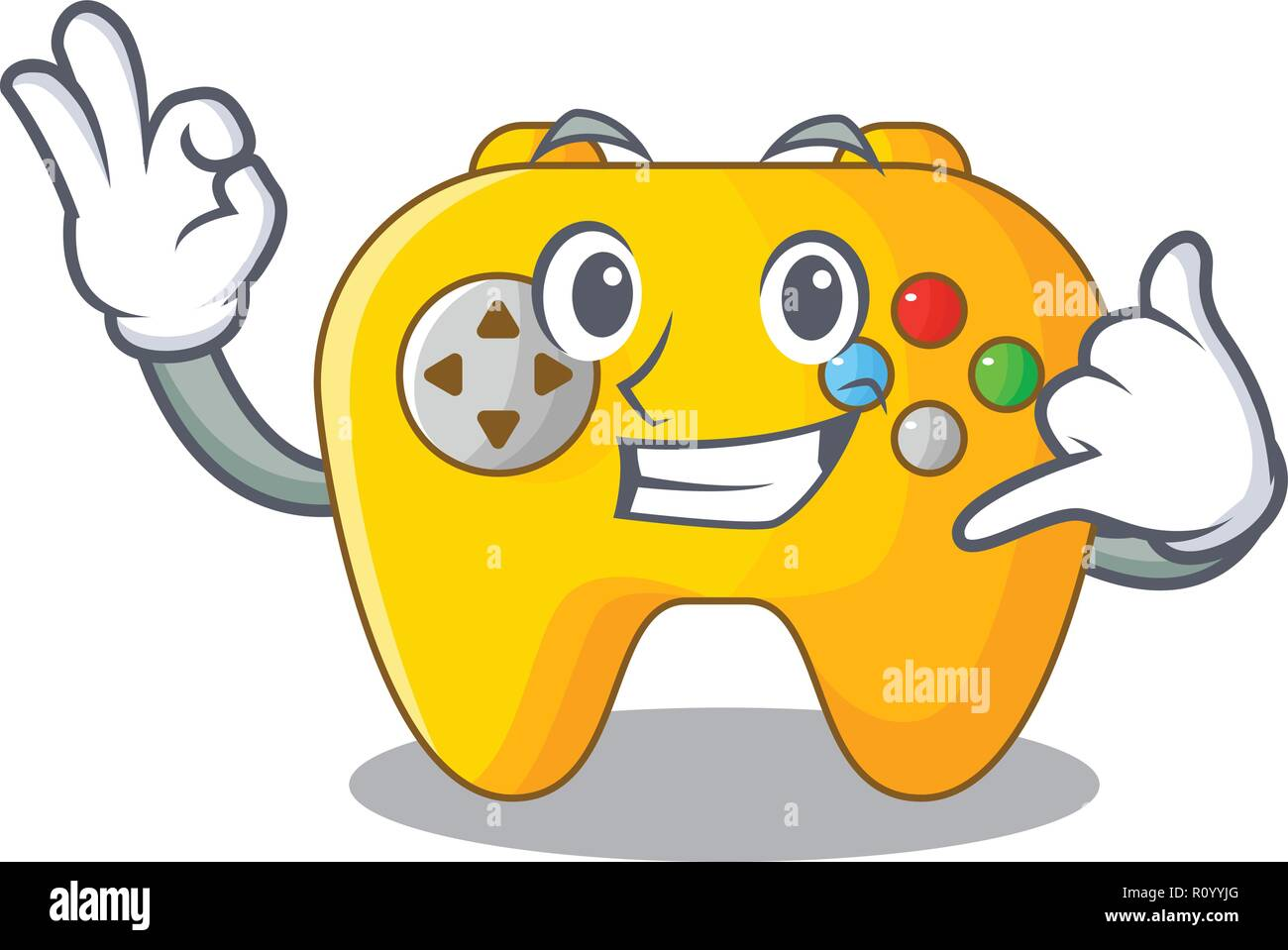 Call me retro computer game control on mascot Stock Vector