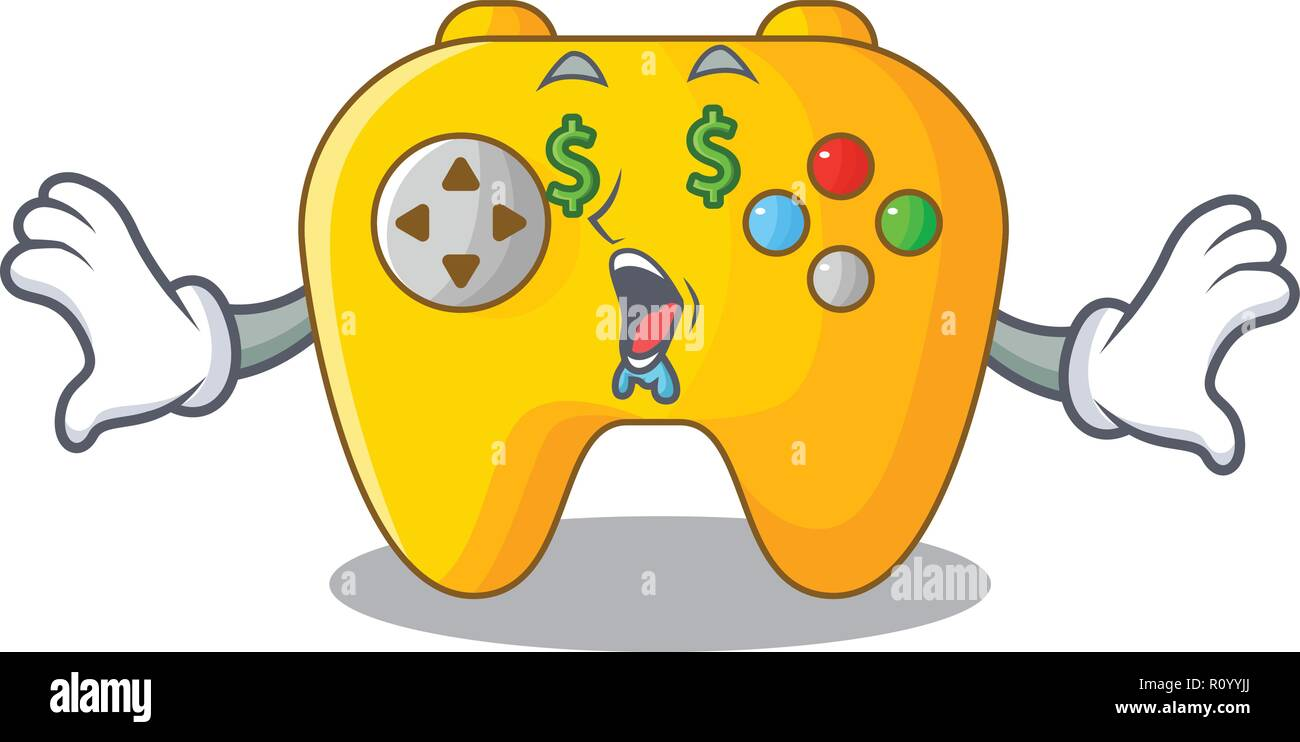 Money eye retro computer game control on mascot Stock Vector